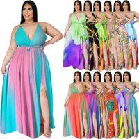 Mulheres verão casual bohemian beach vestidos sexy gradient cópia floral apto e flare maxi vestido sem mangas lateral sem costas altos split feriado vestidos