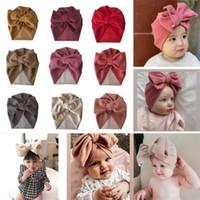 Младенческие девочки для девочек большие волосы обертывания индийские шапки имитация кашемировая зимняя фаната череп шапки гигантские лук-бочонки для головных уборов на открытом воздухе