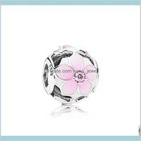Розовые эмаль цветы очарования ювелирных изделий аксессуары логотипа Оригинальная коробка для Pandora 925 стерлингового серебра 925 браслет 4LID9 KWAL2