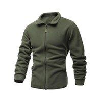 Giacca da uomo Sottile in pile Tactical Maglione Tactical Casual Turn-Down Collar Zipper Color Giacca Colore Maschile Cappotto invernale caldo X1217