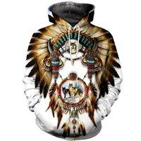 Fashion Bohemia Style Felpa con cappuccio Native Indian Wolf Stampa 3D Casual Felpe con cappuccio Harajuku Streetwear Sudadera Hombre 201128