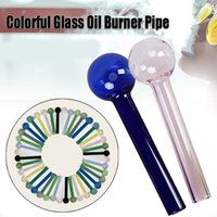 cheapest Glass Oil Burner Pipe Tobcco Dry Herb Colorful Smoking Water Pipes thick Tube Smoking Pipes for dab rig bong 4inch 10cm