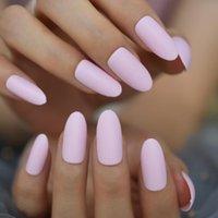 False Nails Medium-Long Pure Pink Almond Gels Wholesale Full Cover Simple Design Flase Fingernails EchiQ Option