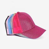 키즈 스팽글 포니 테일 모자 10 스타일 메쉬 다시 카모 할로우 지저분한 롤빵 야구 모자 트럭 모자 여름 태양 모자 빠른 LLA808