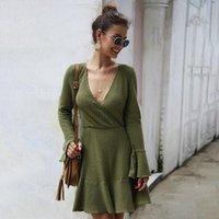 Casual Dresses Fall Winter V-Neck Knitted Vestido Elegant Green Wrap Woman Dress Designer Clothes For Women 2021 Robe Femme