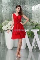 Bridesmaid Dress 2021 Custom Size Short Chiffon Plus Bridal Cap Sleeve Handmade Flowers Red Dresses