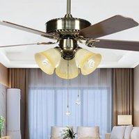 Lampe de ventilateur américain moderne Maison Salon Salon Salle à manger Chambre à coucher Ventilateur de ventilateur de plafond Feuille de bois Traditionnel Plafonnier de style ventilateur