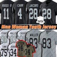 "83 Darren Waller Josh Jacobs 4 Derek Carr Football Jersey Henry Ruggs Hunter Renfrow Maxx Crosby Trikots Charles Woodson Las ""Vegas"" Raiders ""Clelin Ferrell"