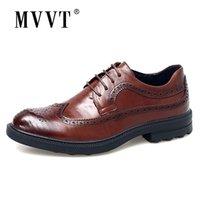 MVVT Fashion Print Echtes Leder formelle Kleidung Britischer Gentleman Brogue Slip-on Männer Oxfords Schuhe 210302