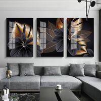 Pinturas simples moderno abstrato preto e branco ouro folha industrial moda arte triptych imagem decorativa impressão impressão