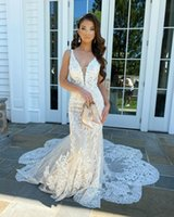 Arabic Lace Mermaid Wedding Dresses with Appliques V Neck Sweep Train Lace-up Back Tulle Plus Size Bridal Gowns