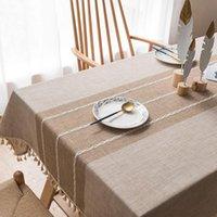 Masa örtüsü modern minimalist dikdörtgen pamuk keten püskül ile katı renk toz geçirmez kapak mutfak kahve masa örtüleri