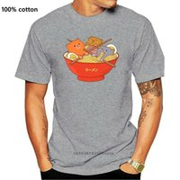 Men's T-Shirts Kawaii Anime Cat Shirt Japanese Ramen Noodles T-Shirt Clothing 100% Cotton Vintage Tee