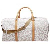 Duffel Bags White Leopard Cheetah Duffle Travel Bag Large Capacity Designer Weekender Tote With Shoulder Strap For Women