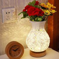 꽃병 꽃병 크리 에이 티브 USB 램프 야간 조명 장식 조명 홈 등나무 꽃 방 높은 품질의 생일 선물 노르딕 데스크 결혼식 LED