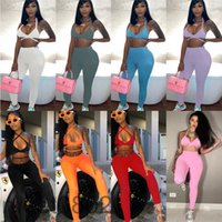 Women Two Piece Pants 2021 summer new Designer Fashion women's solid color sleeveless open back tether T-shirt trousers Leggings Outfits