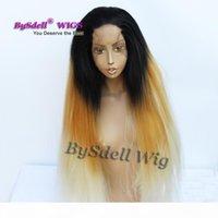 Extra Long Fright синтетические длинные яки прямые волосы шнурок передний парик афро пушистые потрясающие прямые волосы парик черный блондин ombre цвет