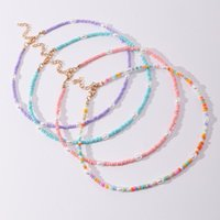 Chains 2021 Trendy Candy Color Pearl Boho Beads Choker Necklaces For Women Girl Wedding Party Colorful Neck Chain Necklace Jewelry