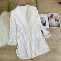 Women's Sleepwear Women Full Slip Sleepshirt Satin White Nightgown Sexy Lace Sleep Dress V-neck Nightdress Female Silky Home