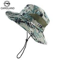 Cloches camoland verão cubeta chapéu para crianças boonie camuflagem chapéus meninos sol uv proteção tampa de pesca ao ar livre respirável