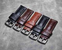 Handmade Crocodile strap Alligator Skin Genuine Leather high quality band Belt Bracelets 24mm Watch accessories Men