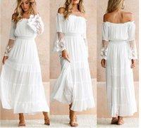 Casual Dresses 2021 Summer Sundress Women White Beach Dress Strapless Long Sleeve Loose Sexy Off Shoulder Lace Boho Chiffon Maxi