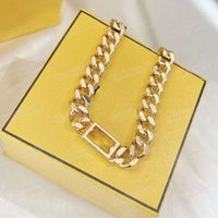 Fashion Designer Stainless Steel Letter 14k Gold Cuban Link Chain Necklace Bracelet For Mens Women Party Lover Gift Hip Hop Jewelry