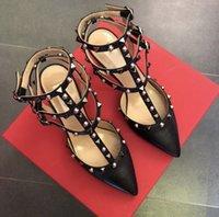 Luxury Dress Shoes v Family Rivet Pointed High-heeled Sandal's Thin Heel 2021 Baotou Leather Liuding Strap Mid Heel Bridmaid Sho