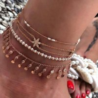 Summer Beach Personality Bohemian Metal Multilayer Bracelet Anklet Ladies Jewelry Gift Ladies Jewelry Gift 222