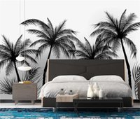 Wallpapers Bacal Custom 3D Po Wallpaper Mural Black And White Sketch Style Tropical Rainforest Coconut Tree Nordic TV Background Wall