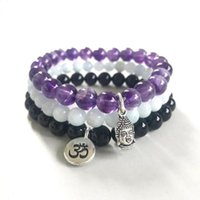 Tennis Natural Healing Crystal Bracelet Aquamarine A-methyst Black Onyx Om Buddha Charm Stretch For Women Men Yoga Stack