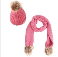 Hats, Scarves & Gloves Sets Parent-Child Caps Cute Infant Baby Pompon Winter Hat Scarf Real Natural Fur Ball Mother Kids Warm Knitted Hats B