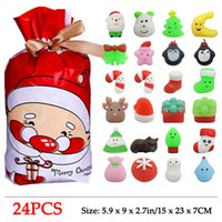 24 PCS Squishies Mochi Squishy Toys Mini Christmas Kawaii Cat Snowman Animals Squeeze Stress Relief Toy Stuffers with Gift Bag Party Favors Easter Egg Filler for Kids