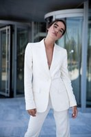 Women's Two Piece Pants White Pinstripe Blazer Suits Women 2 Pieces Slim Fit One Button Evening Party Prom Outfit Tuxedos (Jacket+Pants)