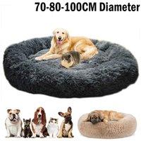 Rotondo Lungo Plush Dog Letti per cani di grandi dimensioni Prodotti per animali Cuscino Super Soft Fluffy Confortevole Cat Mat Forniture Accessori 201125