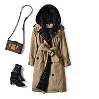 البريطانية أسفل خندق معطف الشتاء الأبيض بطة سترة المرأة مقنع طويل سميكة الدافئة جاكيتات البخاخ ريشة الإناث سترة موهير