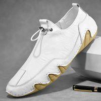 2021 Casual Genuine Leather Sneakers Fashion Brand Flats Autumn Shoes Black Comfortable Men Moccasins Plus Size 47