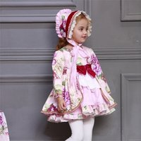 2020 Kids Boutique Floral Dress for Girls Children Spanish Palace Long Sleeve Gown Sets Baby Birthday Cute Gown Toddler Clothes C0228