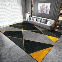 Schwarzer Gelb geometrischer Teppich und Teppich Nordic-Stil Wohnzimmer Kinder Schlafzimmer Nachts Rutschfeste Fußbodenmatte Küche Bad Area Teppich
