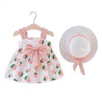 Baby Childrens Kleding Mode Aardbei Girl Dress Polka Dot Princess With Cap Children Bow Slip Casual Style
