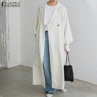 Women's Trench Coats Female Chic Office Oversize Coat Casual OL Long Jackets 2021 ZANZEA Sleeve Cardigans Autumn Fashion Solid
