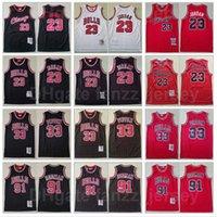 Hommes Basketball Mitchell et Ness Scottie Pippen Jersey Vintage 33 Dennis Rodman 91 Michael 23 Tout cousu Retro Rouge noir Blanc Bonne qualité