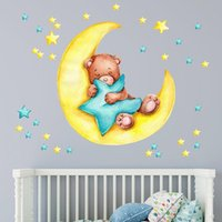 Wall Stickers Good Night Teddy For Kids Room Decor Removable PVC Sticker Self-adhesive Decals Decoration Wallpaper