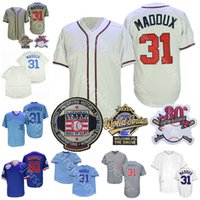 Greg 31 Maddux Jersey Hall of Fame Patch 1929 1942 1969 1988 1999 Creme Branco Cooperstown 2016 WS Gold Bebê Azul Pullover Pinstrie Player