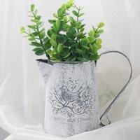 Vintage leicht zu speichern Wassertopf Form Umweltfreundliche Eisenvase Alte Wohnkultur Shabby Flower Crafts Galvanized Bird Print Garten