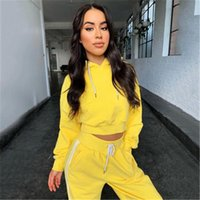Size Casual Suits Womens Solid Color 2Pcs Sets Fashion Trend Long Sleeve Round Neck Tops Drawstring Pants Tracksuits Spring Female New Plus
