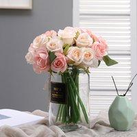 Yumai 12 رئيس الحرير الوردي روز الزهور باقة الاصطناعي العروس العروسة اليد الورود زهرة لحضور الزفاف المركزية الجدول ديكور 207 S2