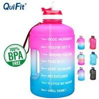 QUIFIT 3.78L 128Oz Gallone Wasserflasche mit Strohhalm Klarer Kunststoff Trinkflaschen Gym Tool Jug BPA Freier Sportschale