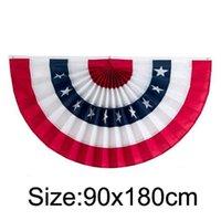 도매 3 * 6ft 주름진 미국 국기 장식 플래그 스커트 배너 90 * 180cm 독립 기념일 미국 팬 모양의 플래그 OOD5301