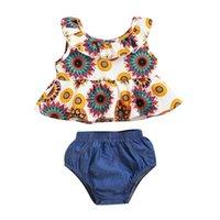 Vêtements Ensembles Infant Girl Vêtements d'anniversaire Baby Summer Outfits Sans manches Totem Totem Top Top Denim Shorts Filles